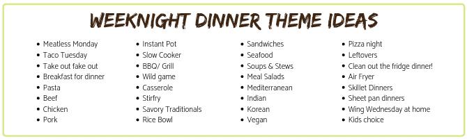 weeknight dinner theme ideas