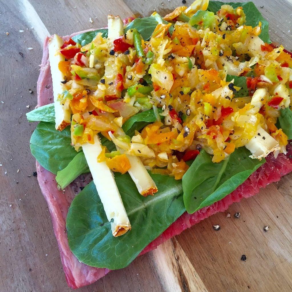 Texas Salad Rolls Layering