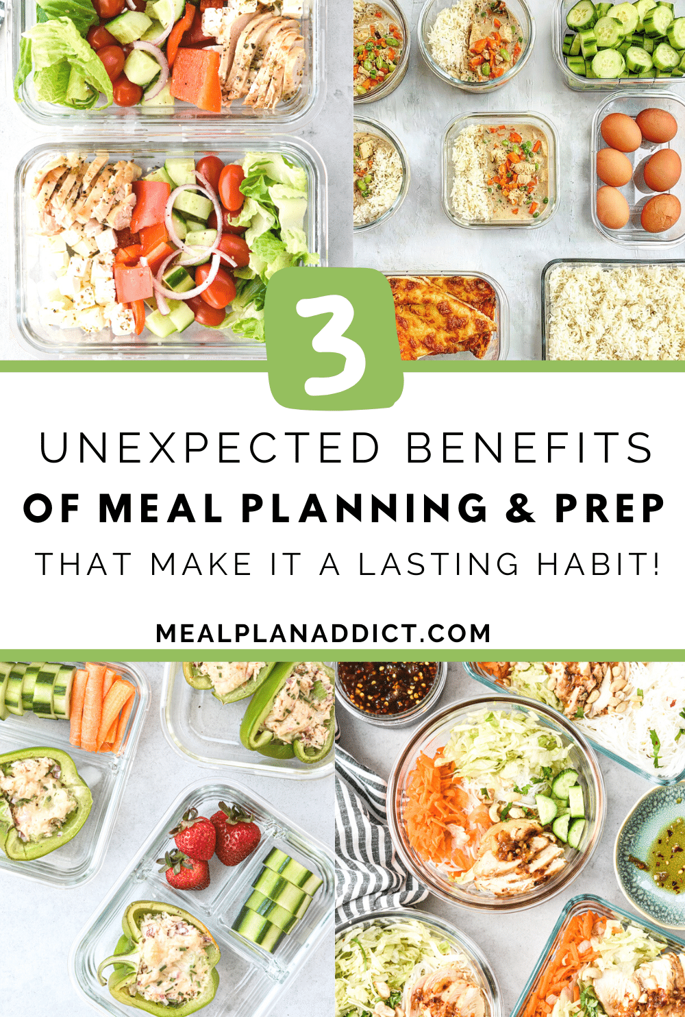 3 unexpected benefits of meal planning and prep image with post title