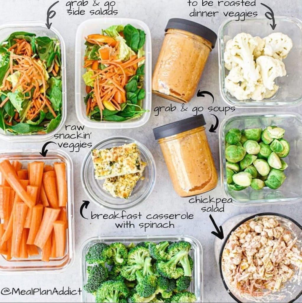 flay lay with prepped veggies in containers