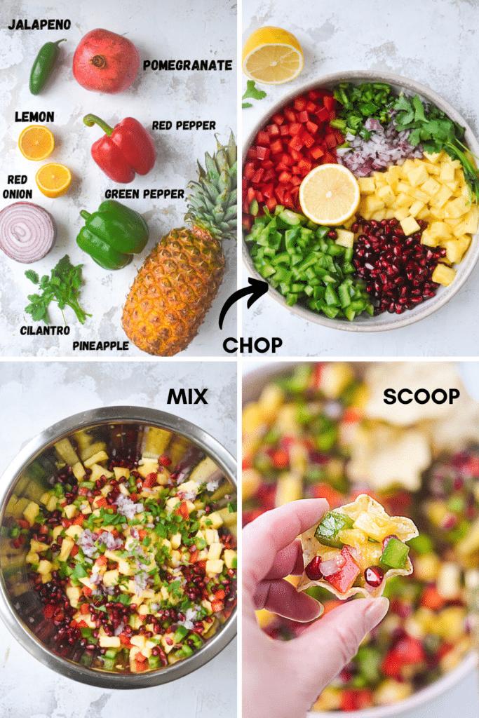 how to make pomegranate pineapple salsa