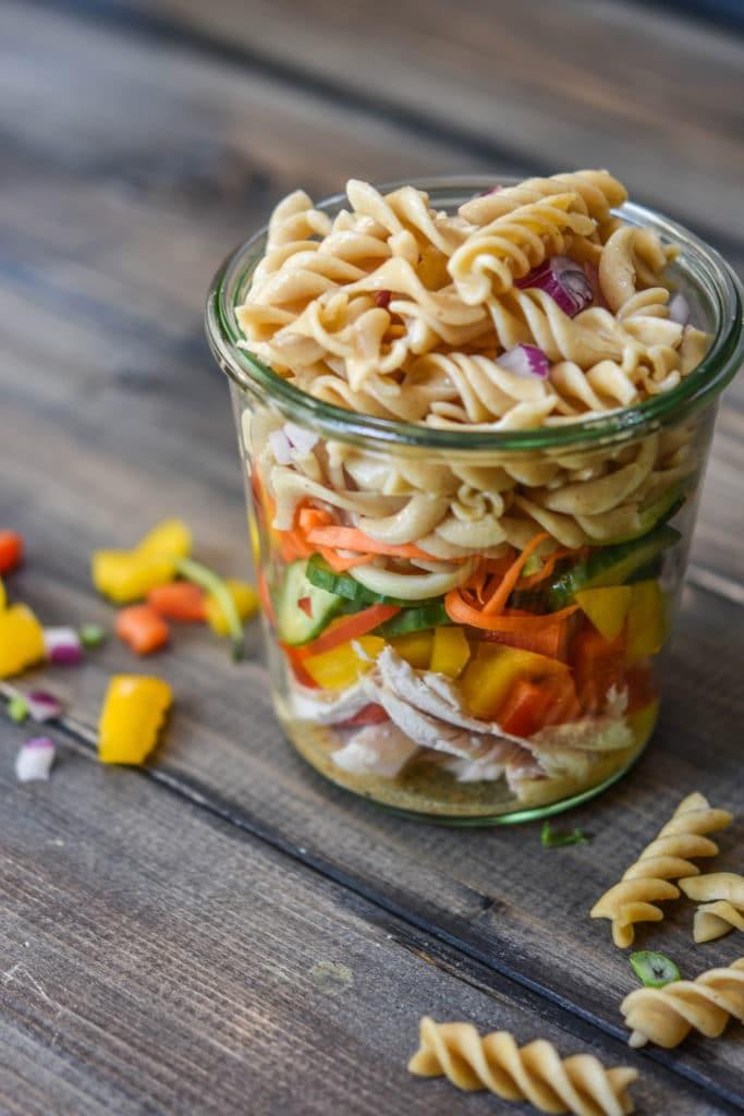 Italian Turkey Fusilli Mason Jar Salad