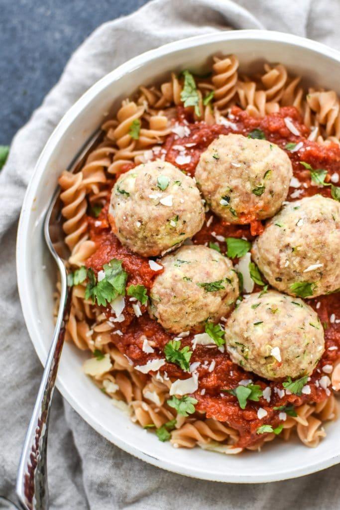 sneaky-turkey-italian-meatballs plated with pasta