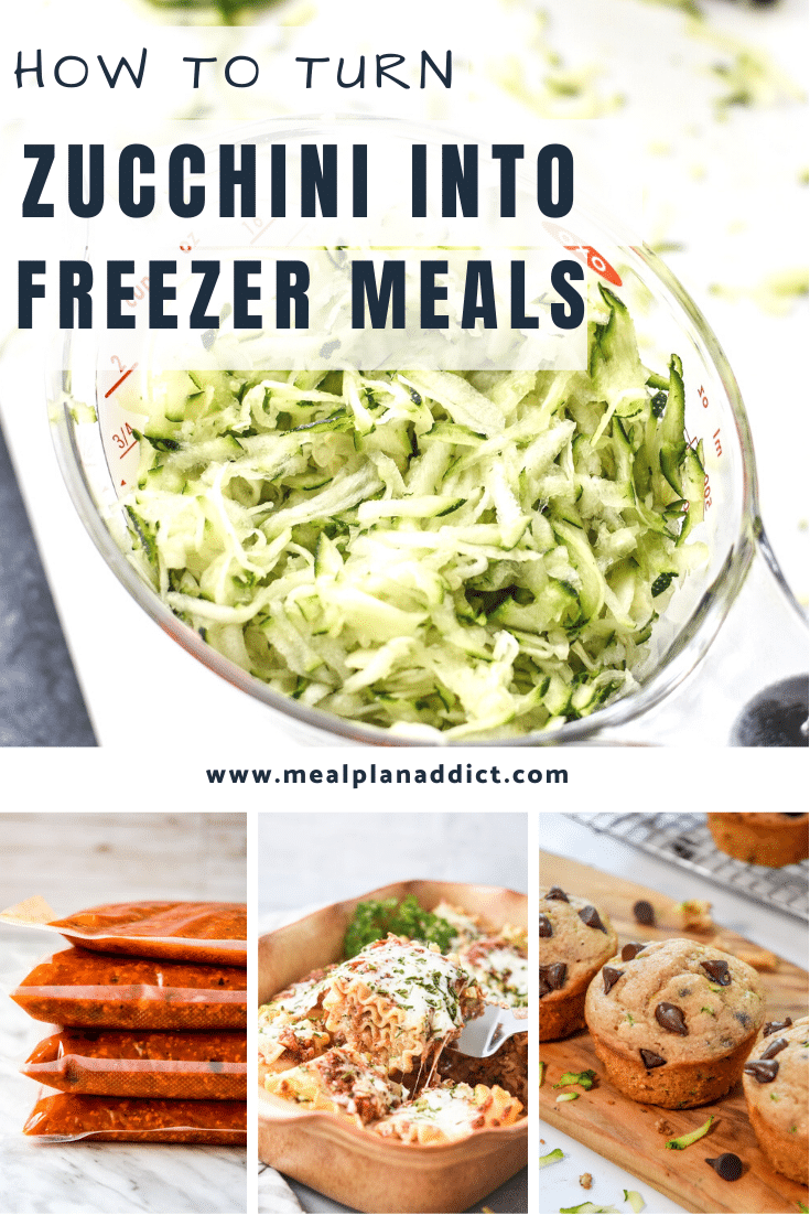 how to turn zucchini into freezer meals collage pin