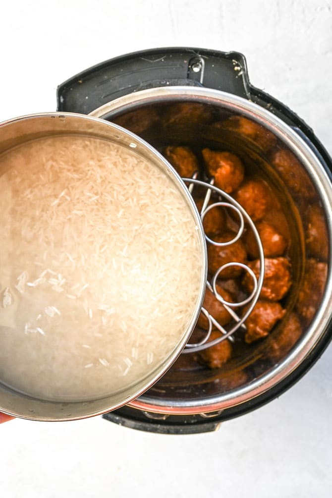 How to set up the instant pot for pot in pot