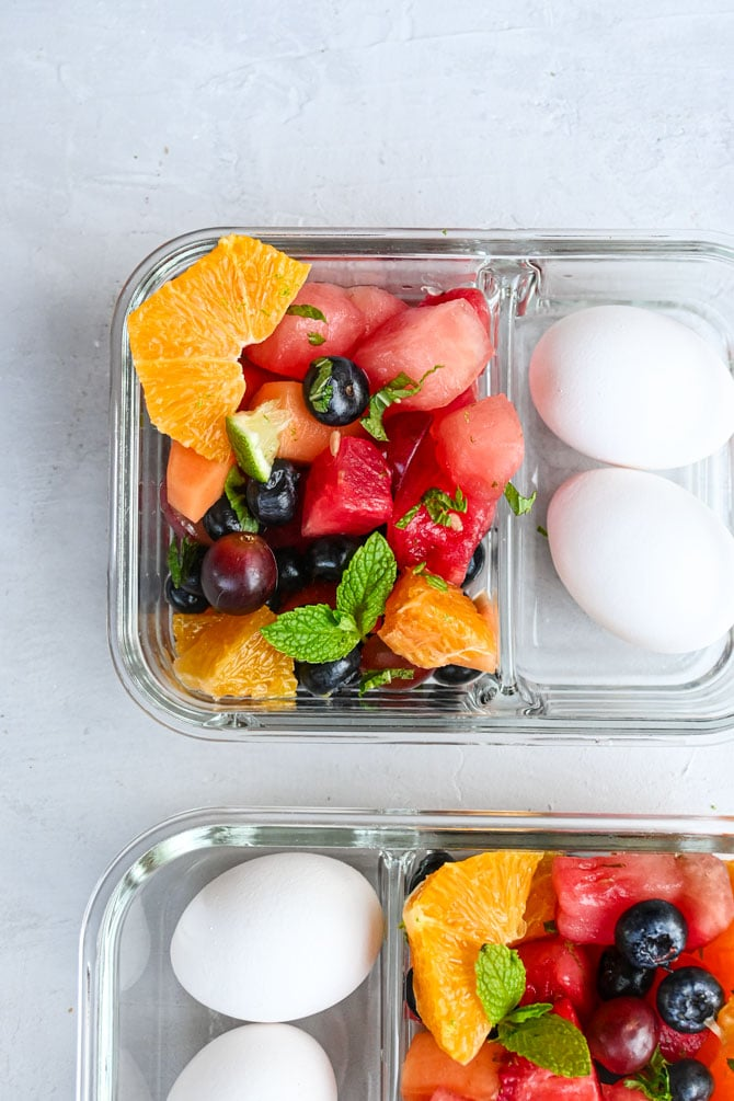 mojito fruit salad in meal prep containers