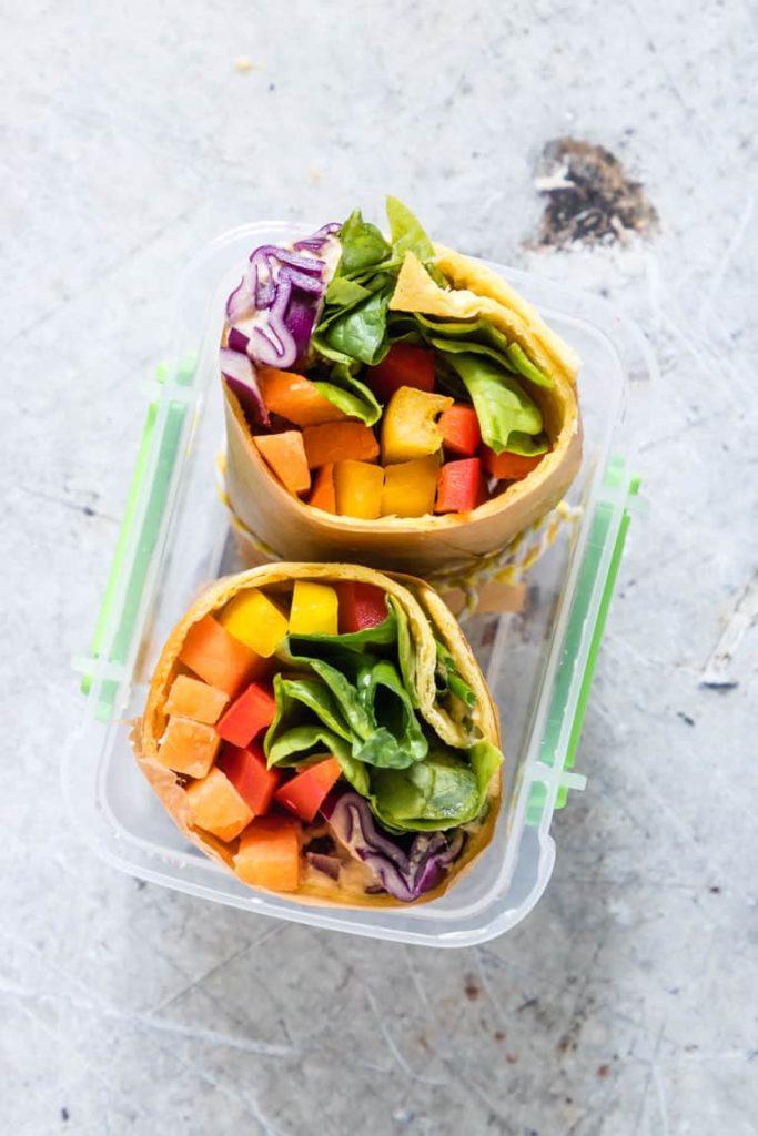 No Microwave Lunch rainbow-tortilla-wrap