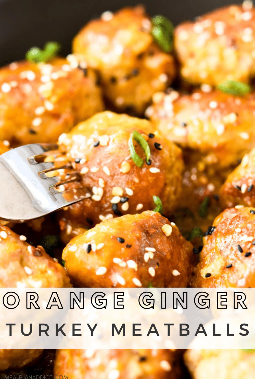 Orange ginger meatballs pin for Pinterest