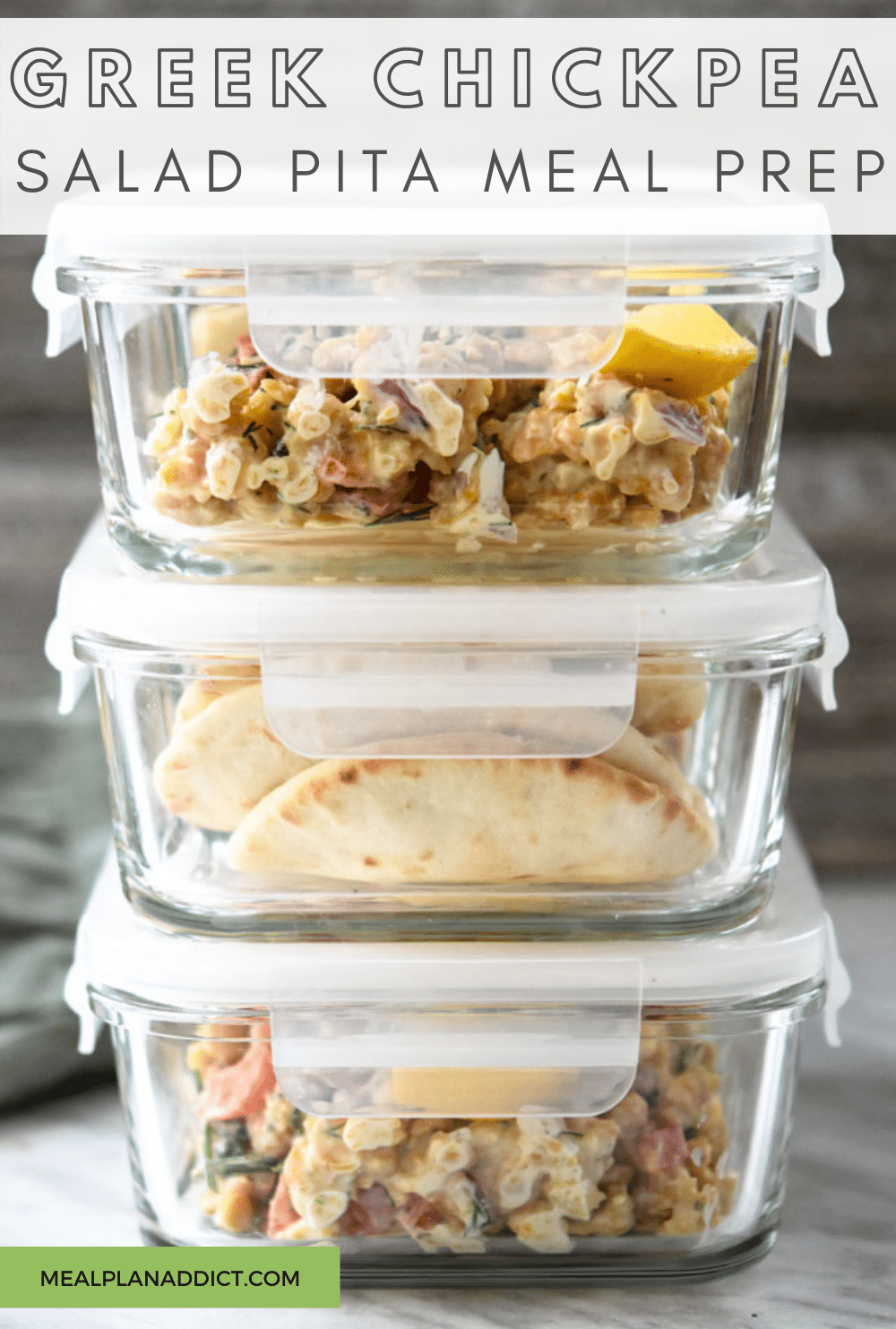 Easy Lunch Meal Prep Greek Chickpea Salad | Meal Plan Addict