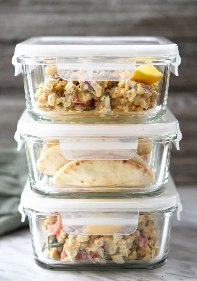 Greek Chickpea Salad Pita Meal Prep Containers stacked