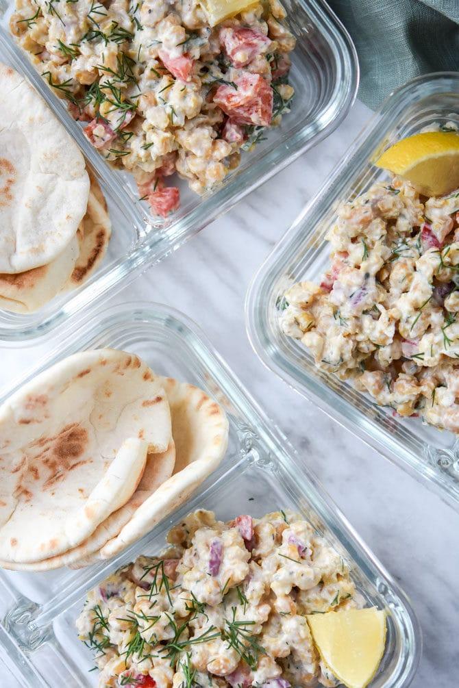 Greek Chickpea Salad Pita Meal Prep_3