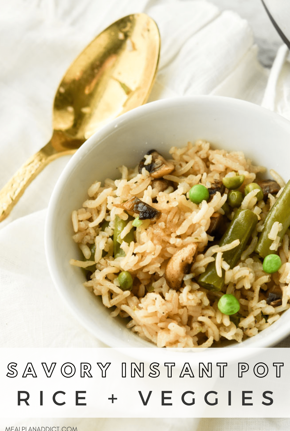 Rice and veggies pin for Pinterest