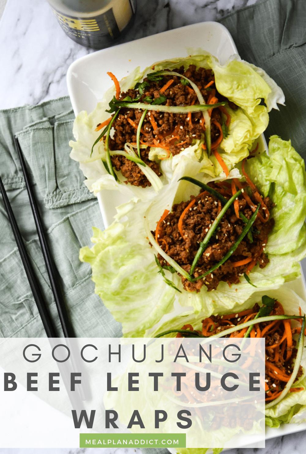 Meal Prep Gochujang Beef Lettuce Wraps   Meal Plan Addict