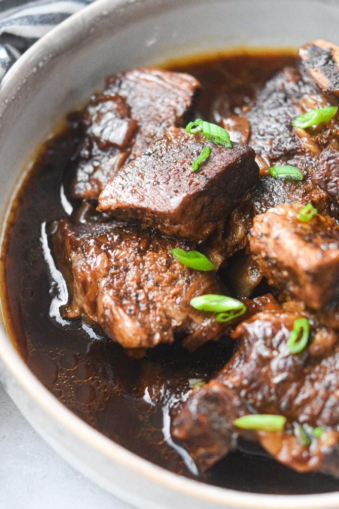 close up shot instant pot short ribs