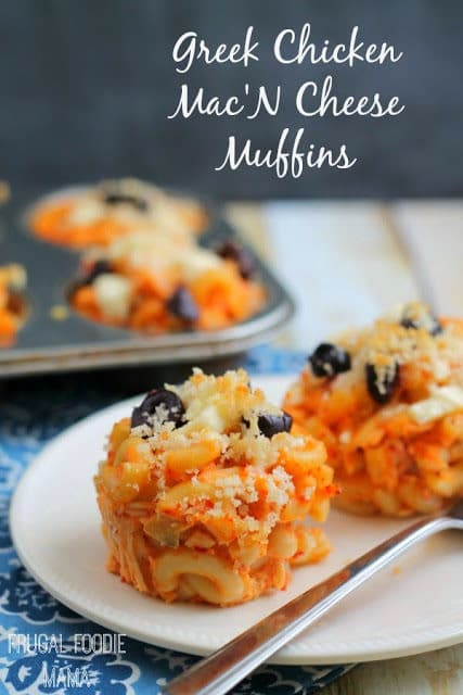 Greek Chicken Mac 'N Cheese Muffins