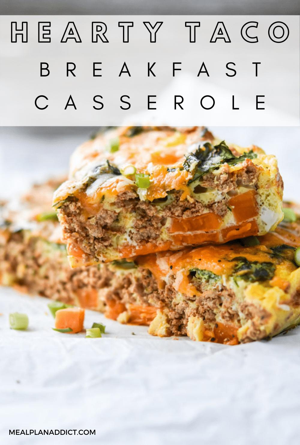 Breakfast casserole pin for Pinterest