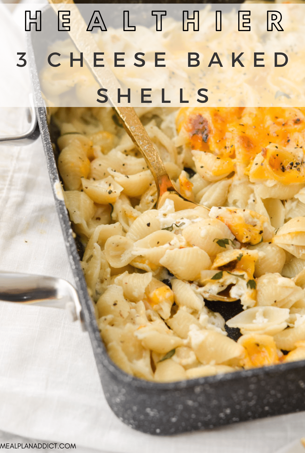 3 cheese baked shells pin for Pinterest