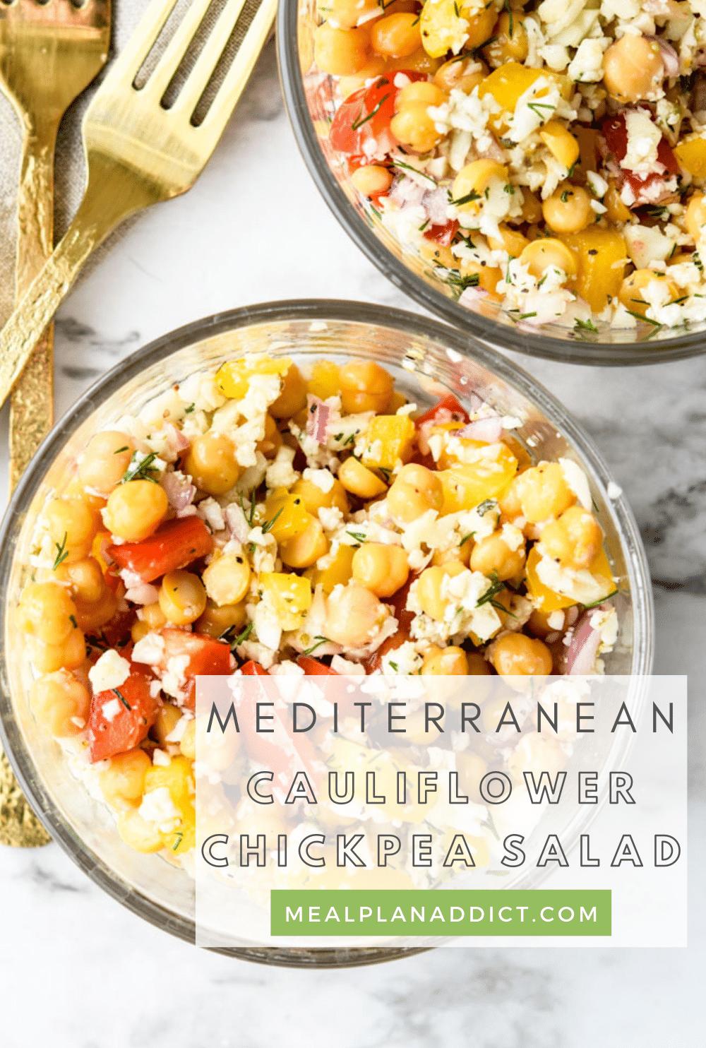 Cauliflower chickpea salad pin for Pinterest