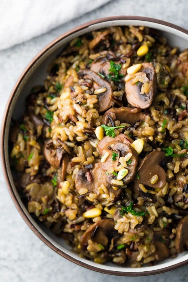 Instant Pot Wild Rice Pilaf with Mushrooms and Pine Nuts