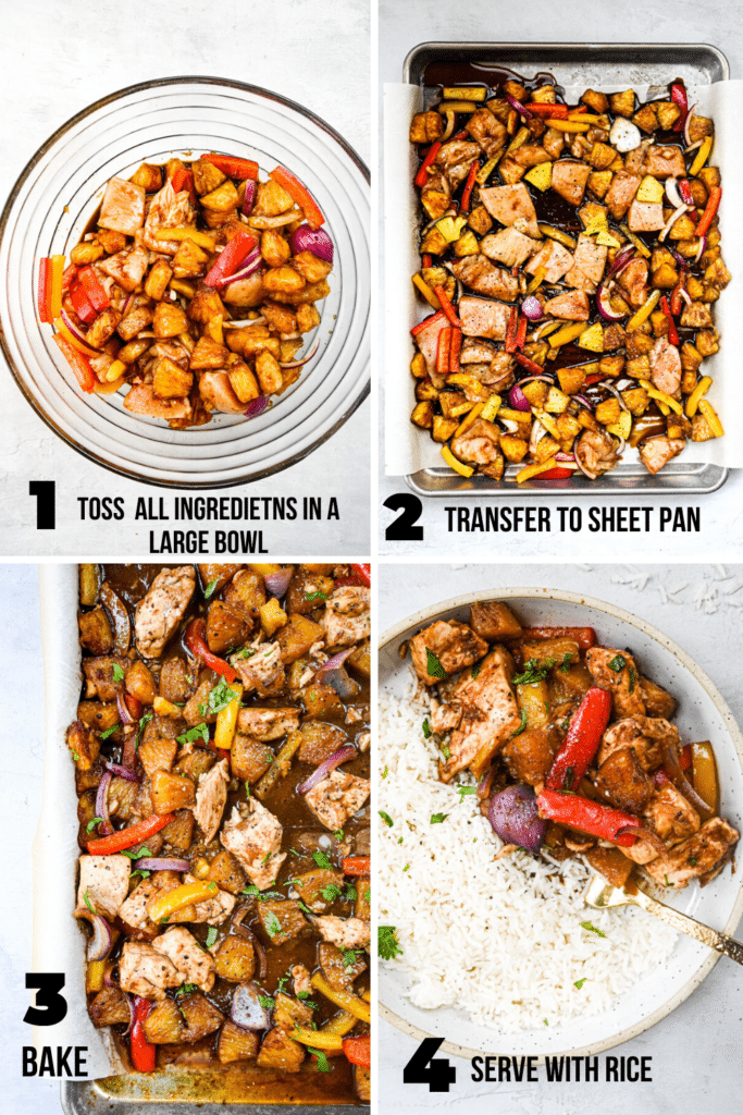 step by step how to make sheet pan pineapple chicken