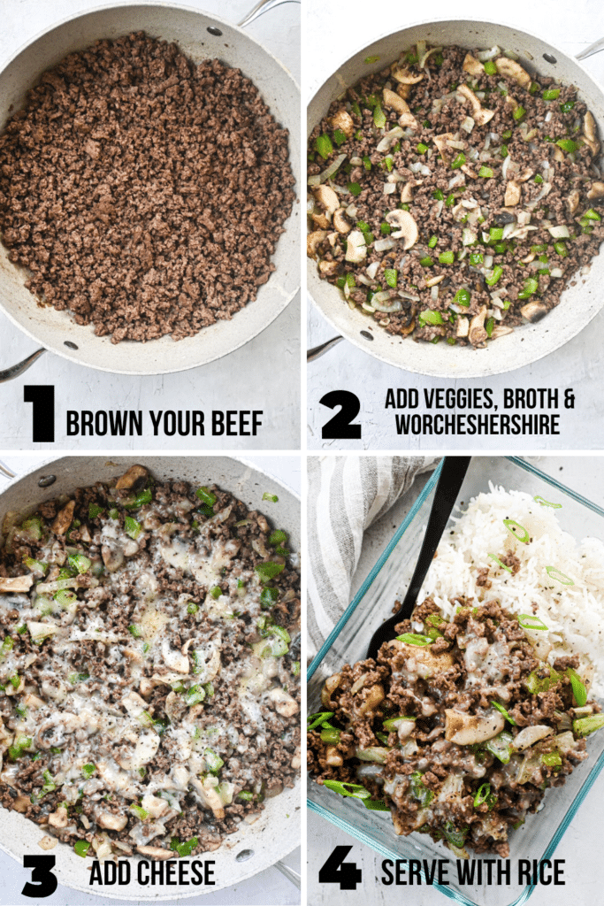 step by step how to make ground beef philly cheesesteak meal prep