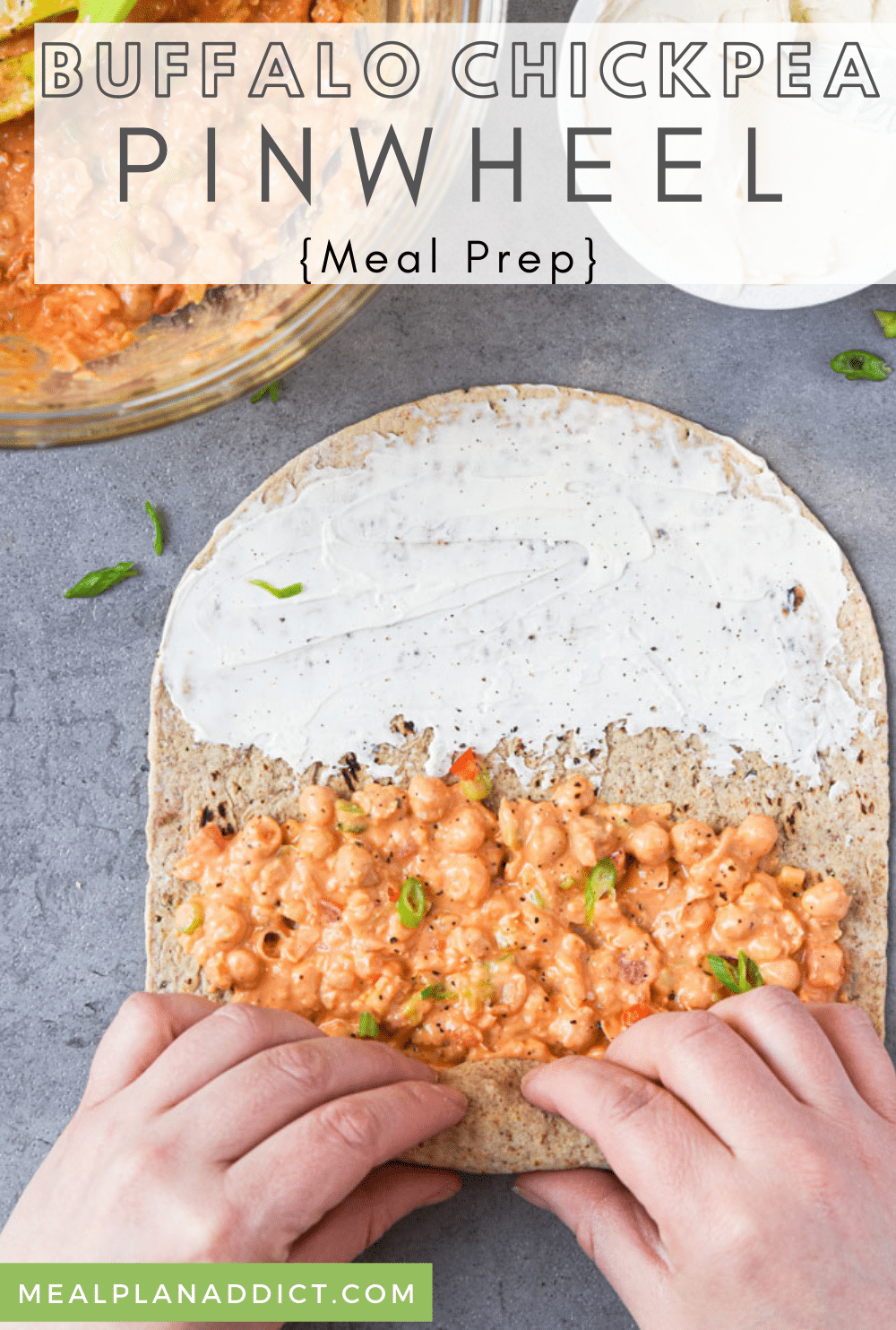 Buffalo Chickpea Pinwheel Meal Prep is a no cook, quick and easy vegetarian lunch box for your on the go life. Prep these for 3 days and just grab and go in the morning!