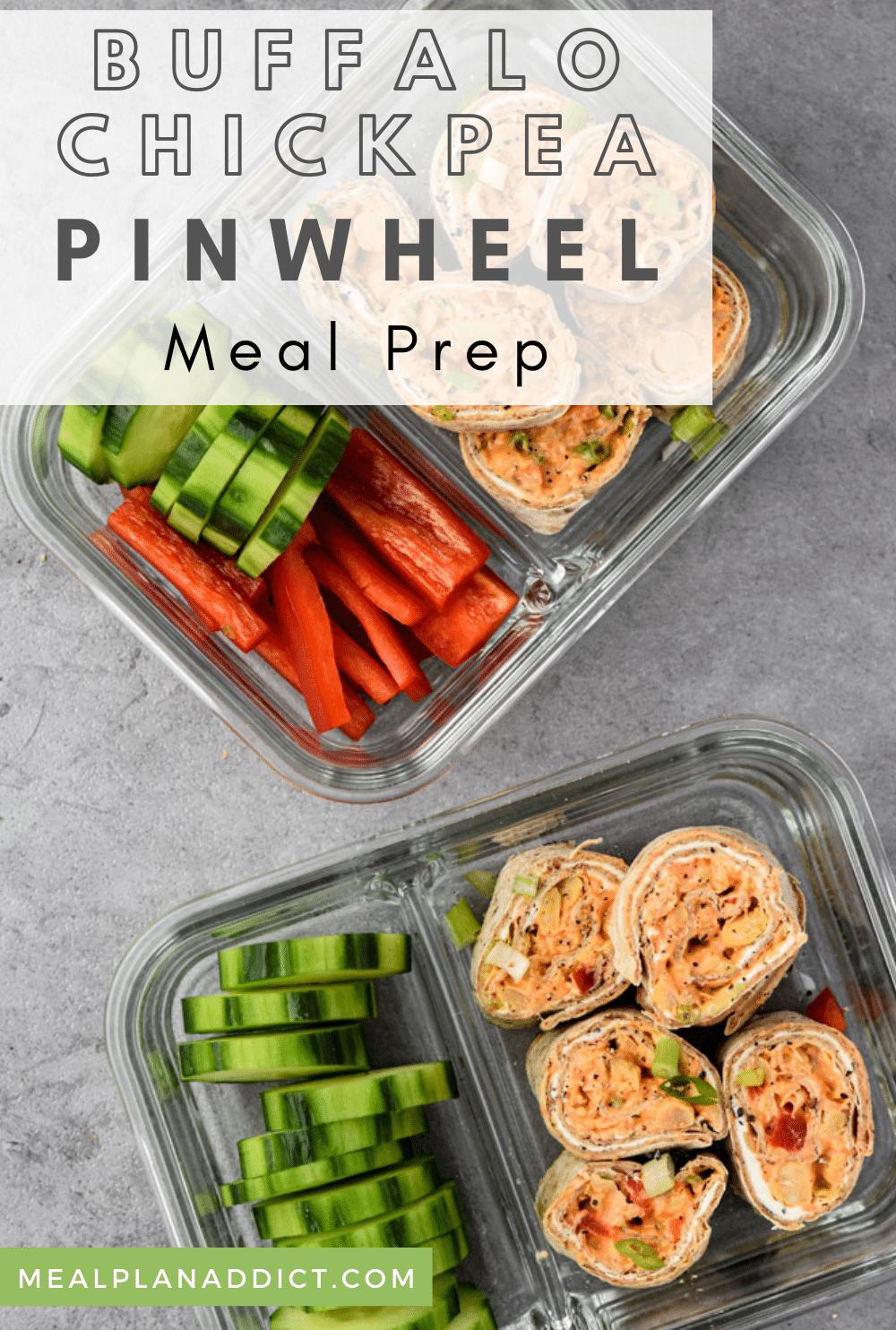 Healthy Buffalo Chickpea Pinwheel Meal Prep | Meal Plan Addict