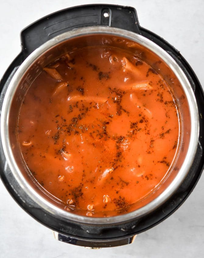Instant Pot Chicken Parm Pasta when the lid comes off