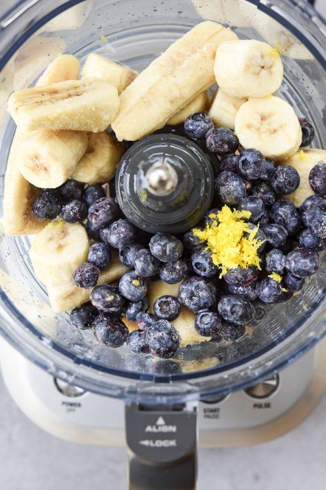 Lemon Blueberry Nice Cream ingredients in processor