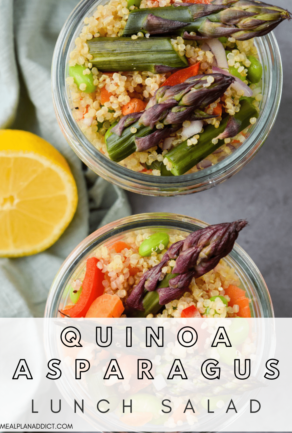 Quinoa asparagus salad pin for Pinterst
