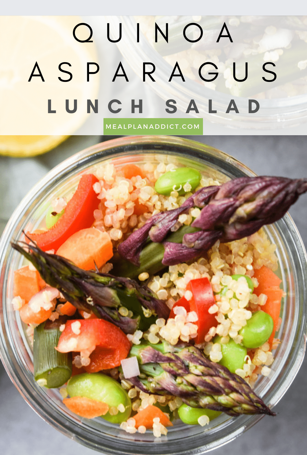 Quinoa asparagus salad pin for Pinterest