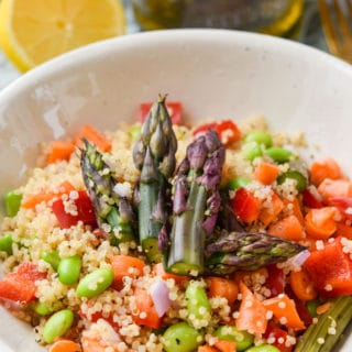 Quinoa Asparagus Salad close up lunch