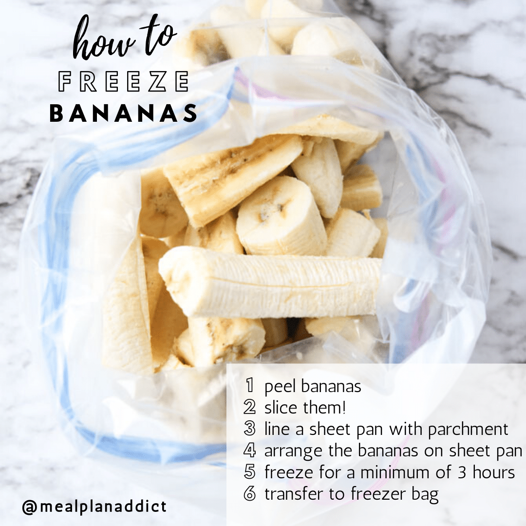 open bag of frozen banana pieces with the how to instructions written on the image