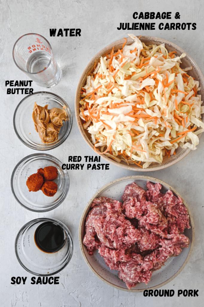 spicy peanut ground pork bowl ingredients