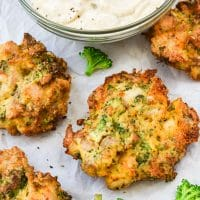 Broccoli Cheddar Chicken Fritters hero shot flat lay