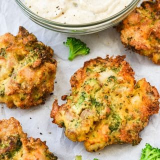 Broccoli Cheddar Chicken Fritters hero shot flat lay