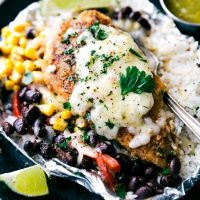 Foil Pack Creamy Salsa Verde Chicken, Rice, and Veggies