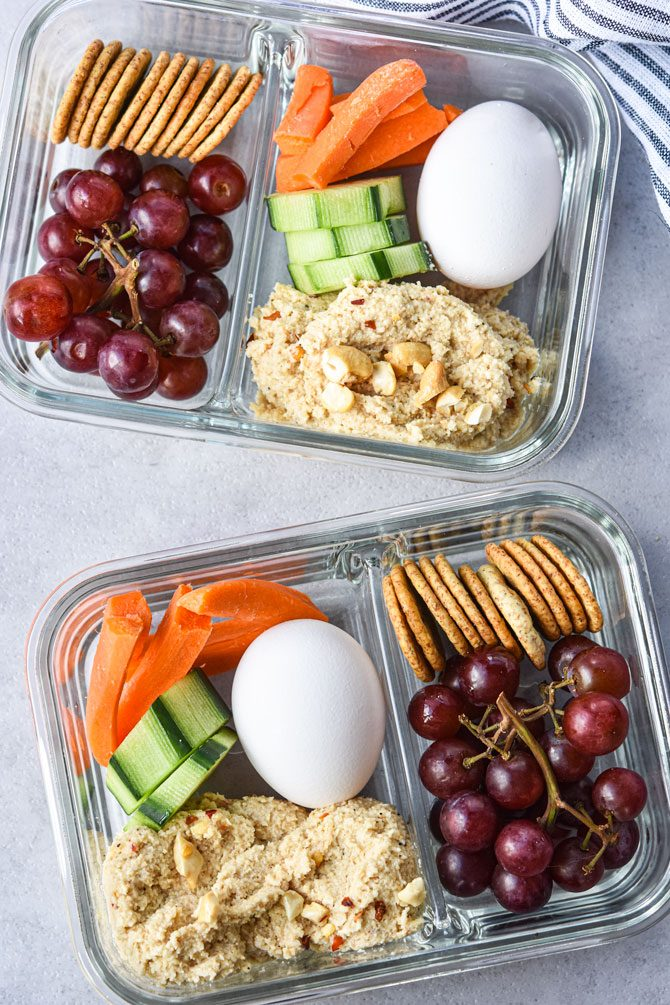 Easy Cashew Cheese Dip meal prep snack box