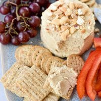 Easy Cashew Cheese spread on a cracker