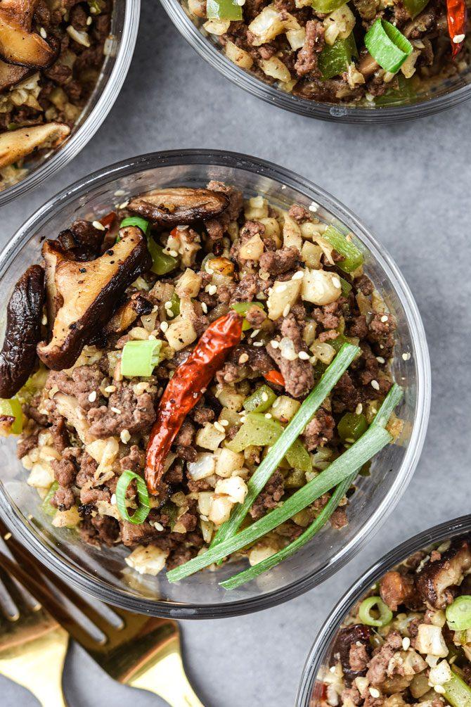 Kung Pao Beef & Cauliflower Rice Bowls flat lay