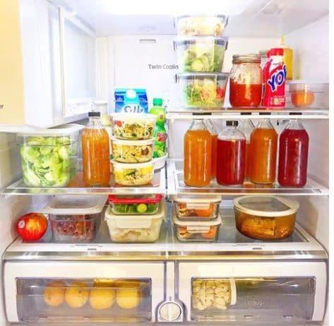 Bottled kombucha in the fridge