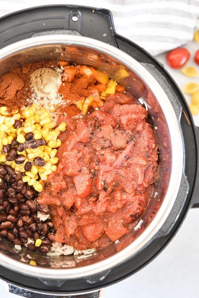 Easy Instant Pot Taco Pasta ingredients in the pot