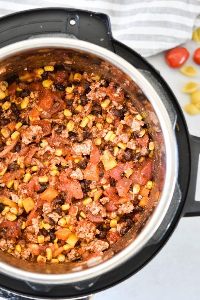 Easy Instant Pot Taco Pasta ingredients pre pressure