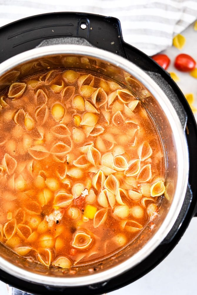 Easy Instant Pot Taco Pasta with water