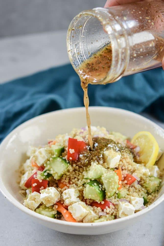Quinoa Greek Salad with bone broth dressingQuinoa Greek Salad with bone broth dressing
