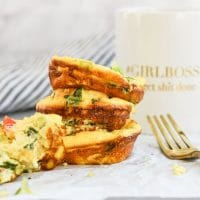 Baked Cottage Cheese Egg Muffins stacked with fork