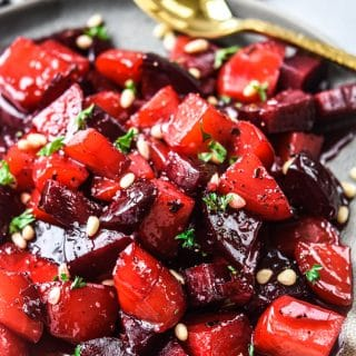 Candied beets plated close up hero shot