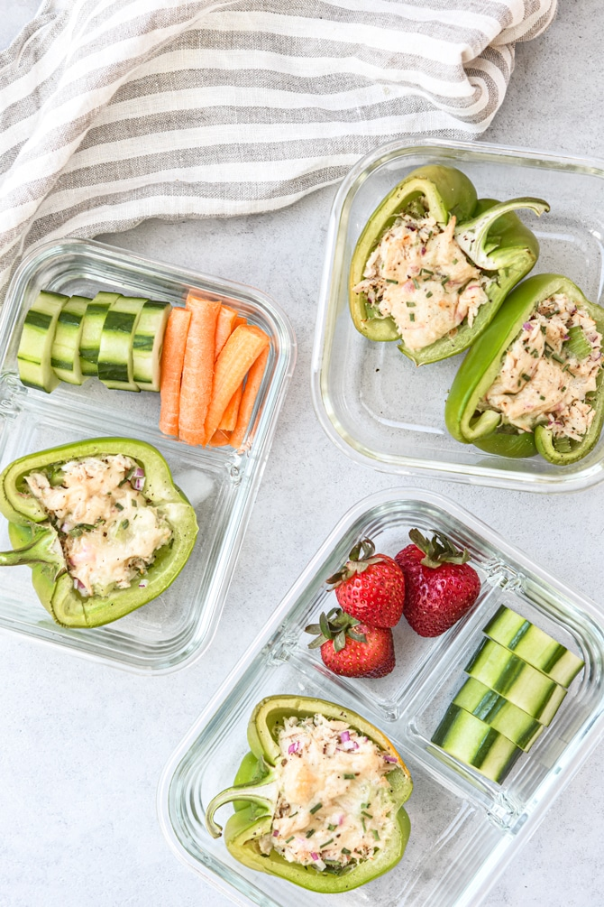 Low carb tuna melts meal prep containers