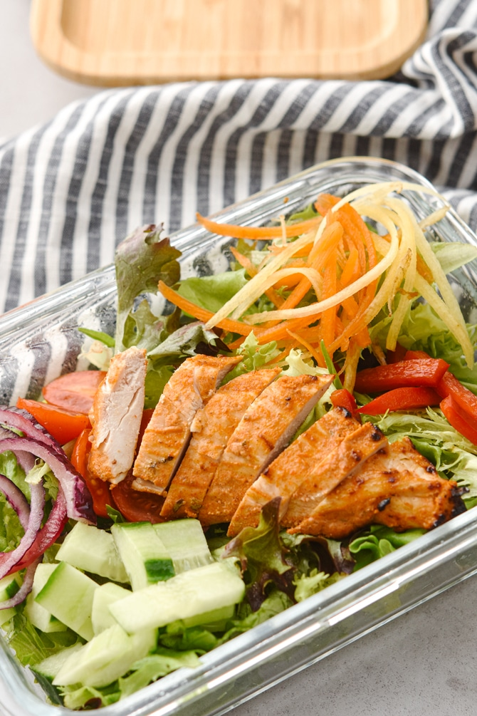 Chicken Shawarma with salads in meal prep container