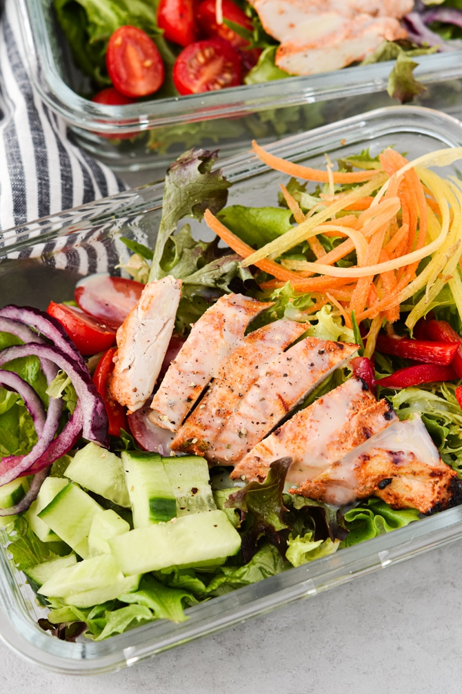 Chicken Shawarma with salads with chopped chicken